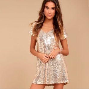 NEW! Lulu's Gold Sequin Dress Size Medium